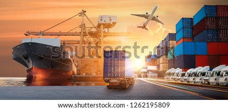 Logistics import export background and transport industry of Container Cargo freight ship and Cargo plane background, Truck transport container on the road to the port