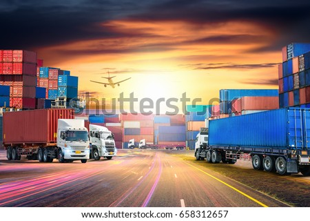 Logistics import export background and transport industry of Container Cargo freight ship and Cargo plane at sunset sky #658312657