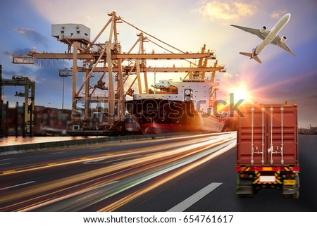 Logistics import export background and transport industry of Container truck on the road to port with Cargo ship and Cargo plane at sunset sky