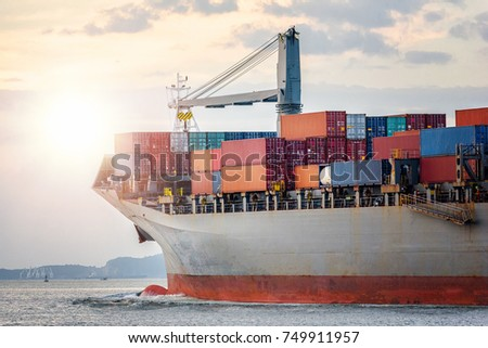 Logistics import export concept and transport industry of container cargo freight ship in the ocean at sunset sky, Freight transportation, Shipping