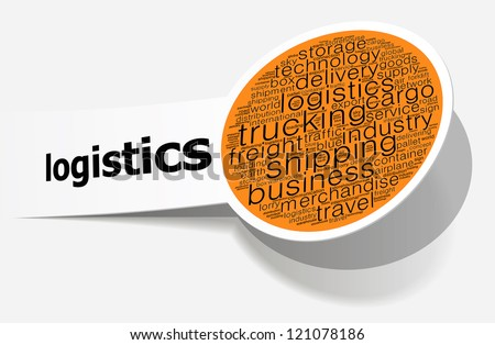 Logistics info-text graphics and arrangement concept on white background (word cloud)