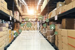 Logistics network Wholesale and Retail. Icon of marketing and process channels transport and logistic on warehouse background.