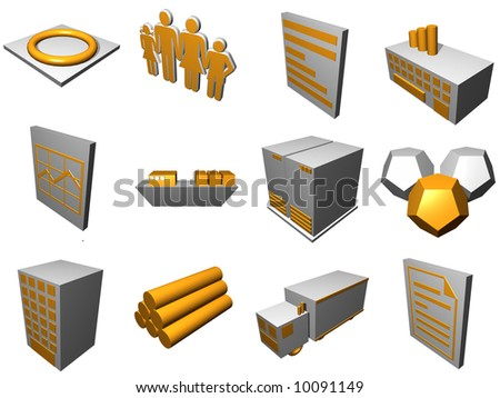 Logistics process buildings and icons set