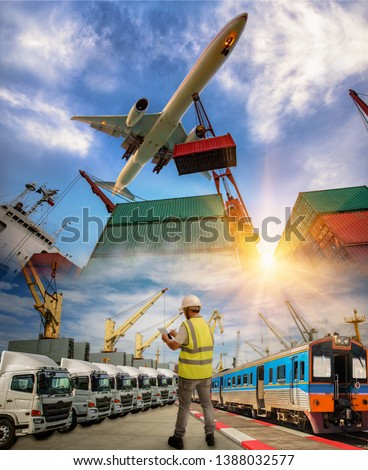 logistics system and transport services to Worldwide, inland and sea farer global delivery shipment and goods from door to door attention, all kinds transport services CONCEPT