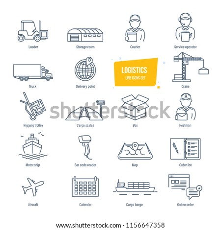 Logistics thin line icons, pictogram and symbol set. Icons for delivery, logistics. Packing, shipping, transportation, tracking, parcel. Transport service employees buildings illustration