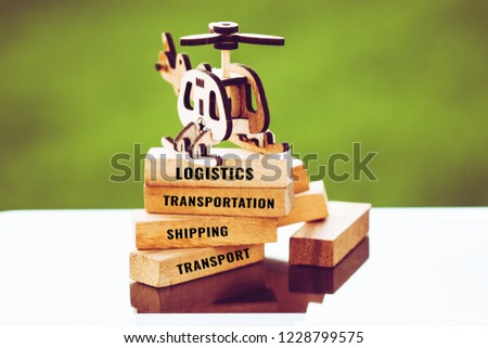 Logistics transportation Concept : Plane model with wooden blocks for letter e.g shipping, industry, economy,cargo, Container etc. Ideas show management transport by business delivery by air trucing