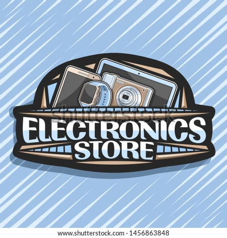 Logo for Electronics Store, black decorative price tag with illustration of set modern electronic products, sign board with original typeface for words electronics store on abstract background.