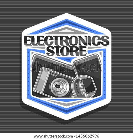 Logo for Electronics Store, white decorative signboard with illustration of set modern web electronic products, sign board with original typeface for words electronics store on dark background.
