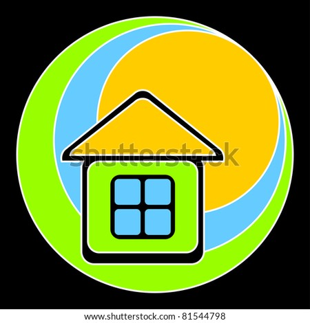 Logo in the form of the house with a yellow roof. The house against the sun, sky and a green grass.EPS version is available as 80321203.