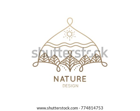 Logo of nature elements on white background. Linear icon of landscape with trees and sun - business emblems, badge for a travel, spa and ecology concepts, health and yoga Center.