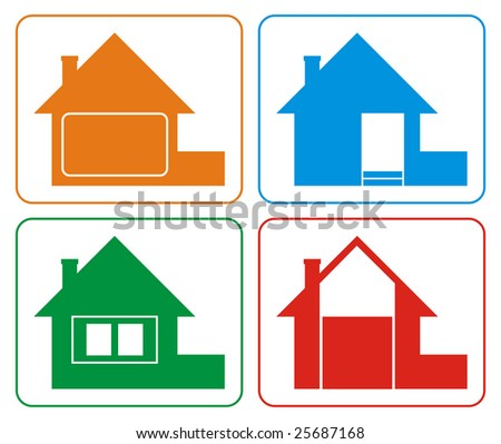 Logo of the house of different colours. Houses have a roof, a pipe, a door, windows and a fence. Each house has certain colour. Logos are stylised and simplified. There are no fine details.