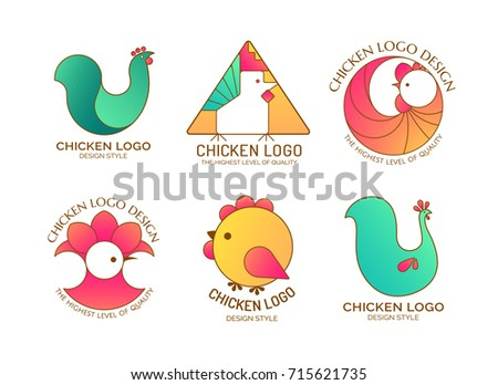 Logo rooster, chicken, chick. Set of collection icons. Colorful illustration, isolated on a white background.