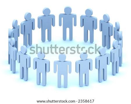 Logo Team of  people, 3d rendering