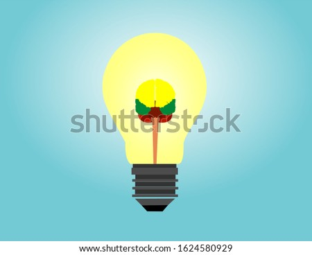 Logo with a half of light bulb and brain isolated on white background. Symbol of creativity, creative idea, mind, thinking