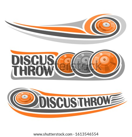 Logos for Athletics discus throw, consisting of disc flying on trajectory, 3 sports gray and orange throwing discs. Track and field athletics equipment for summer games.