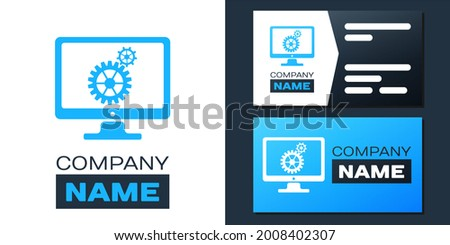 Logotype Computer monitor and gears icon isolated on white background. Adjusting app, service, setting options, maintenance, repair, fixing concepts. Logo design template element.. ストックフォト ©