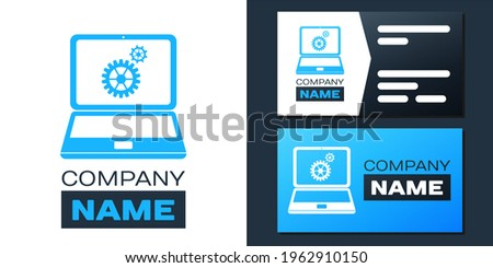 Logotype Laptop and gears icon isolated on white background. Adjusting app, service, setting options, maintenance, repair, fixing laptop concepts. Logo design template element. ストックフォト ©