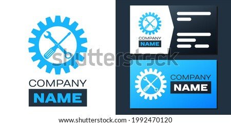 Logotype Maintenance symbol - screwdriver, spanner and cogwheel icon isolated on white background. Service tool symbol. Setting icon. Logo design template element. ストックフォト ©