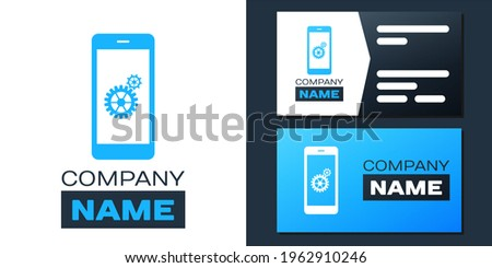 Logotype Setting on smartphone screen icon isolated on white background. Mobile and gear. Adjusting app, set options, repair, fixing phone concepts. Logo design template element. ストックフォト ©