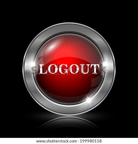 Logout Button Logo Metallic Internet Button on
