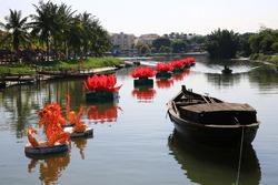 loi krathong festival Krathong to float in Loi kratong day,Hoi An,Viet nam