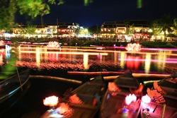 loi krathong festival Krathong to float in Loi kratong day,night light on river at Hoi An,Viet man