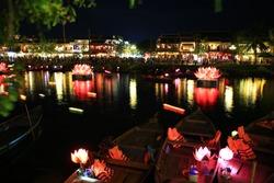 loi krathong festival Krathong to float in Loi kratong day,night light on river in Hoi An,Viet Nam
