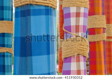 Loin cloth decorations on wooden pole, Thailand festival Stock photo ©