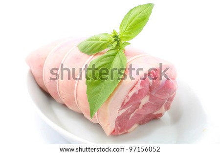 Loin of pork and russed isolated on white