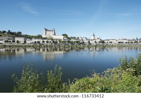Loire river as it passes through the city of Saumur, Loire Valley, France