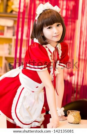 Lolita japanese style girl intdoor cute cosplayer maid