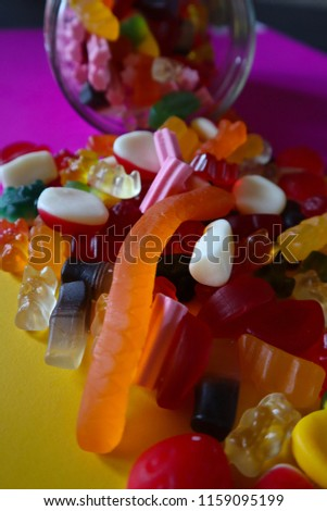 Lollies Falling out of Lolly Jar