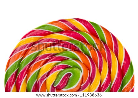 Lollipop candy on white background, rainbow colours