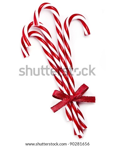 lollipop cane isolated on white - stock photo