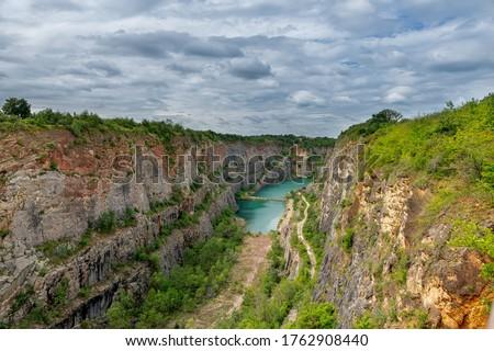 Lom Velka Amerika / A large limestone quarry of America near the capital city Prague - Mořina - Czech Republic Stok fotoğraf ©