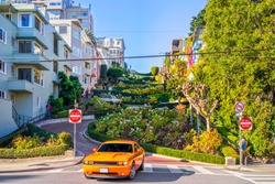 Lombard street on Russian hill, San Francisco, California, USA.