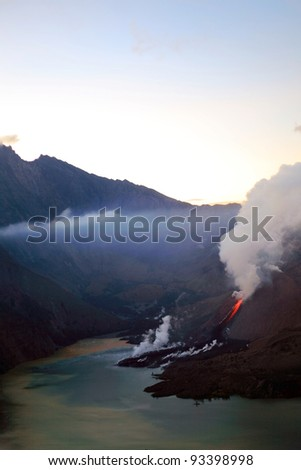LOMBOK,INDONESIA JULY 2: Mount Rinjani erupts spewing out lava, ash and smoke on July 2, 2009 in Lombok,Indonesia. Indonesia sits on the 'Pacific Ring of Fire' with many active volcanoes