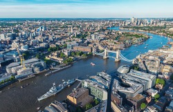London aerial view with urban architectures and Tower Bridge