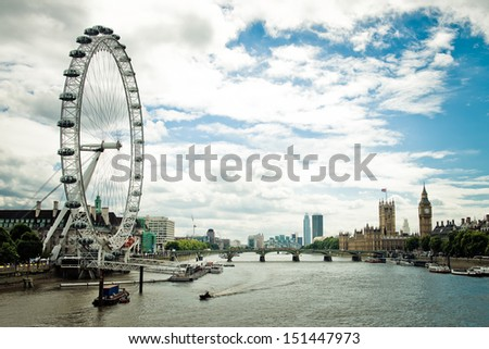 London afternoon. London eye, County Hall, Westminster Bridge, Big Ben and Houses of Parliament.