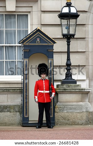 LONDON - APRIL 17: A member of the England Queens' Guard stands guard at Buckingham Palace on April 17, 2004 in London.