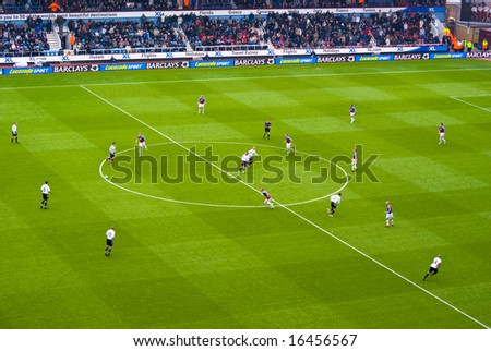 LONDON - APRIL 19: Members of West Ham and Derby County teams kick off during the first half on April 19, 2008 in London.