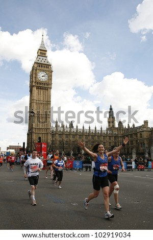 LONDON - APRIL 22: Runners in the London Marathon on April, 22, 2012 in London, UK. The London Marathon is next to New York, Berlin, Chicago and Boston to the World Marathon Majors, Champions League - stock photo