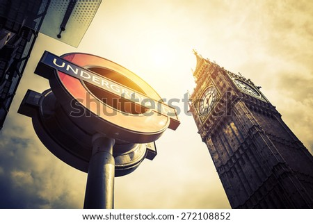 LONDON - APRIL 10: The Big Ben. The London \'Underground\' logo will be used for other transportation systems - has been announced by Transport for London (TfL), taken April 10, 2015 in London