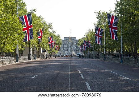 LONDON - APRIL 27: The Mall decorated with union flags for Prince William and Catherine Middleton's royal wedding celebration to take place April 29. April 27, 2011 in London, England.