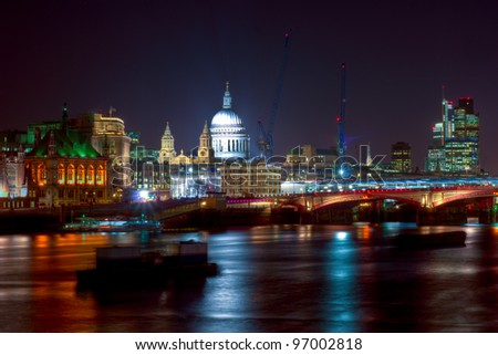 London at Night - a view across the Thames towards St Paul