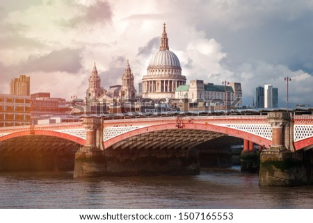 London at sunset with Blackfriars Bridge and Saint Paul Cathedral