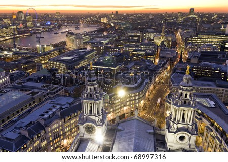 London at twilight view from St. Paul's Cathedral
