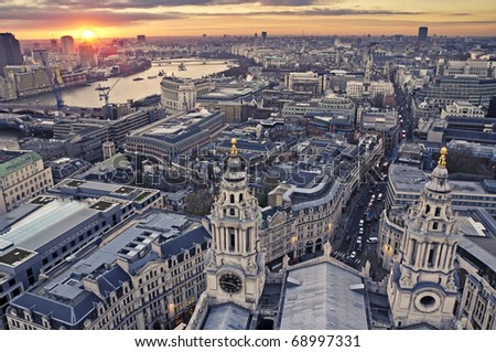 London at twilight view from St. Paul's Cathedral - stock photo