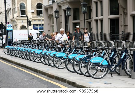 LONDON - AUG 2: Rental bicycles on Aug 2, 2010 in London, UK. London's bicycle sharing scheme, launched with 6000 bikes, 400 docking stations on 30 July 2010 to help ease traffic congestion.