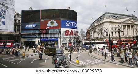 LONDON - AUG 2: View of Piccadilly Circus, road junction, built in 1819, famous tourist attraction, links to West End, Regent Street, Hay Market, Leicester Square, on Aug 2, 2010 in London, UK.